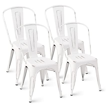 Amazing Costway Tolix Style Dining Chairs Metal Industrial Vintage Chic High Back Indoor Outdoor Dining Bistro Cafe Kitchen Side Stackable Chair Set Of 4 Home Remodeling Inspirations Basidirectenergyitoicom