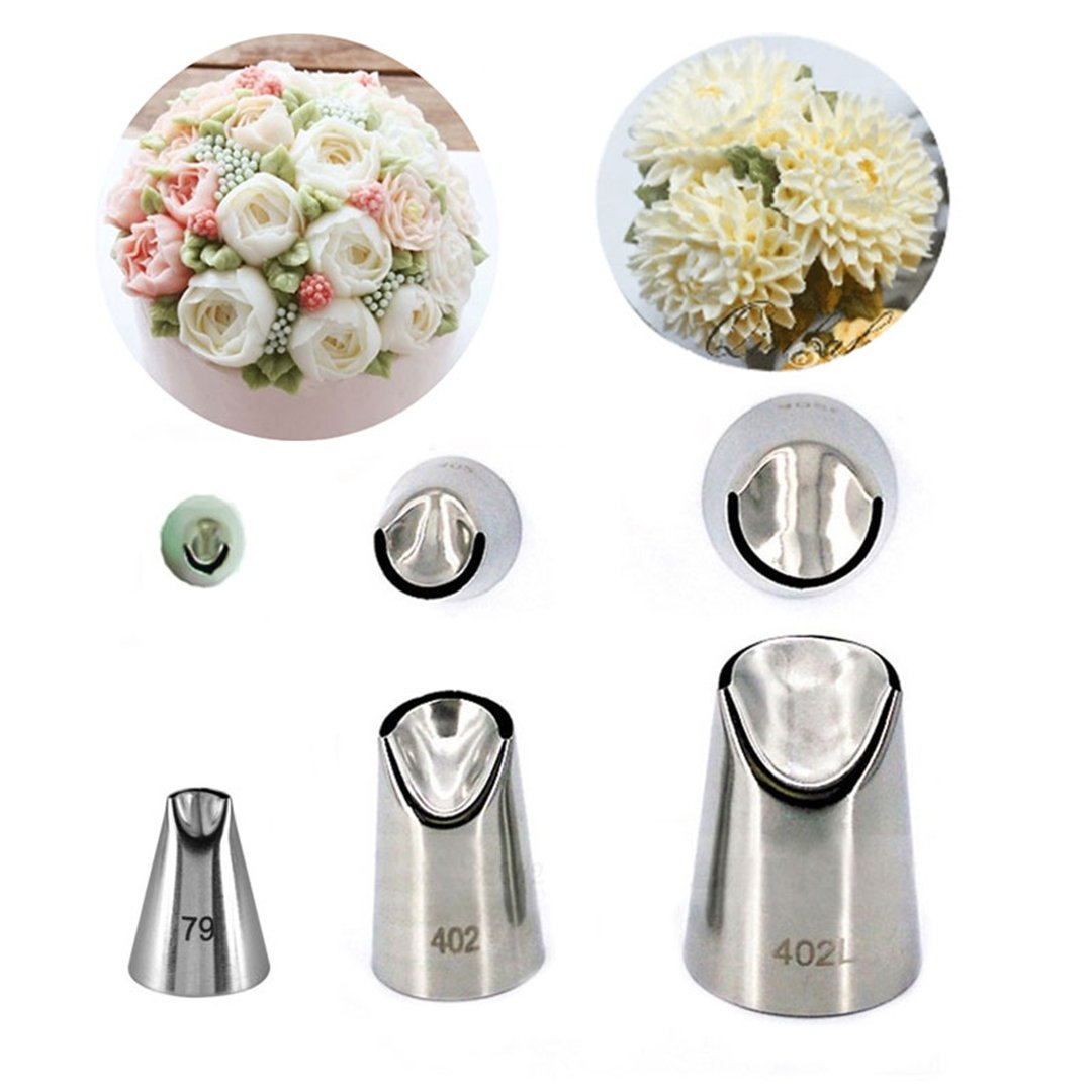 CFtrum 3 Pieces Stainless Steel Icing Piping Nozzles Pastry DIY Baking Tools Decoration Cupcake Fondant Cake or any Pastry