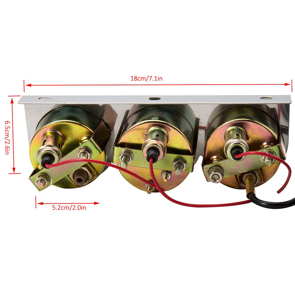 Warmcare Triple Gauge Kit Oil Volt Water 2 Chrome Chevy 350 Pressure Sending Unit Temp Temperature Voltage Sensor 3 In 1 Car