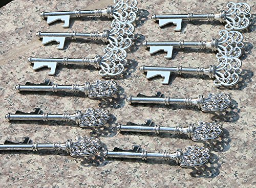 40PCS Skeleton Key Shaped Bottle Openers Silver Color Wedding Favors Shiny Decoration