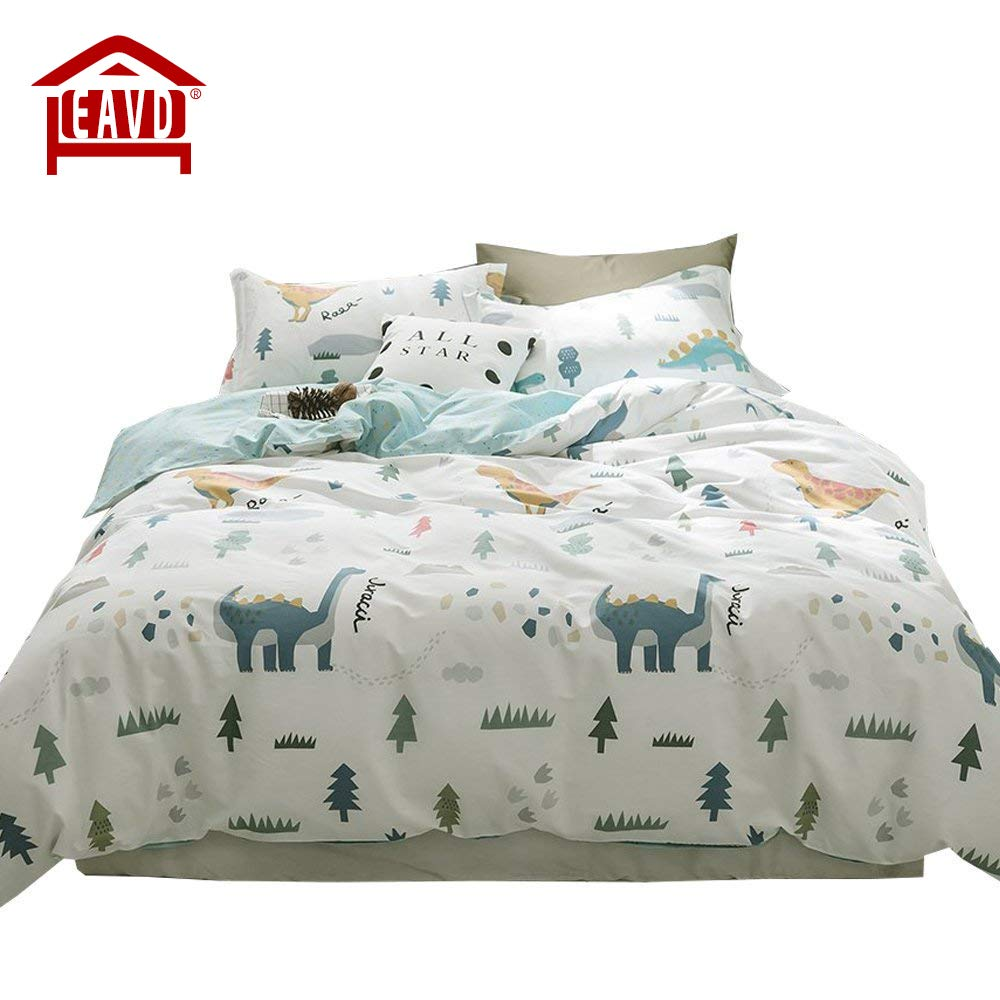 EAVD 100% Cotton Bedding Set Little Boy Reversible Cartoon Boys/Teens 3PCS Cute Animal Printing Duvet Cover Soft With 2 Pollowcases, Dinosaur-C Comforter Covers Twin Size