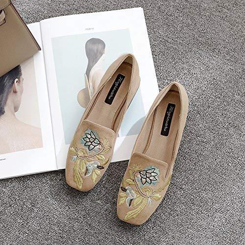 Antiguo Marrón Satén Mujer Cuero Áspera Bordado Zapato Alto Casuales color Damas 38 Un Tamaño 37 Cabeza De Tacón Pista Zapatos Hhgold Flor wq6RS6x