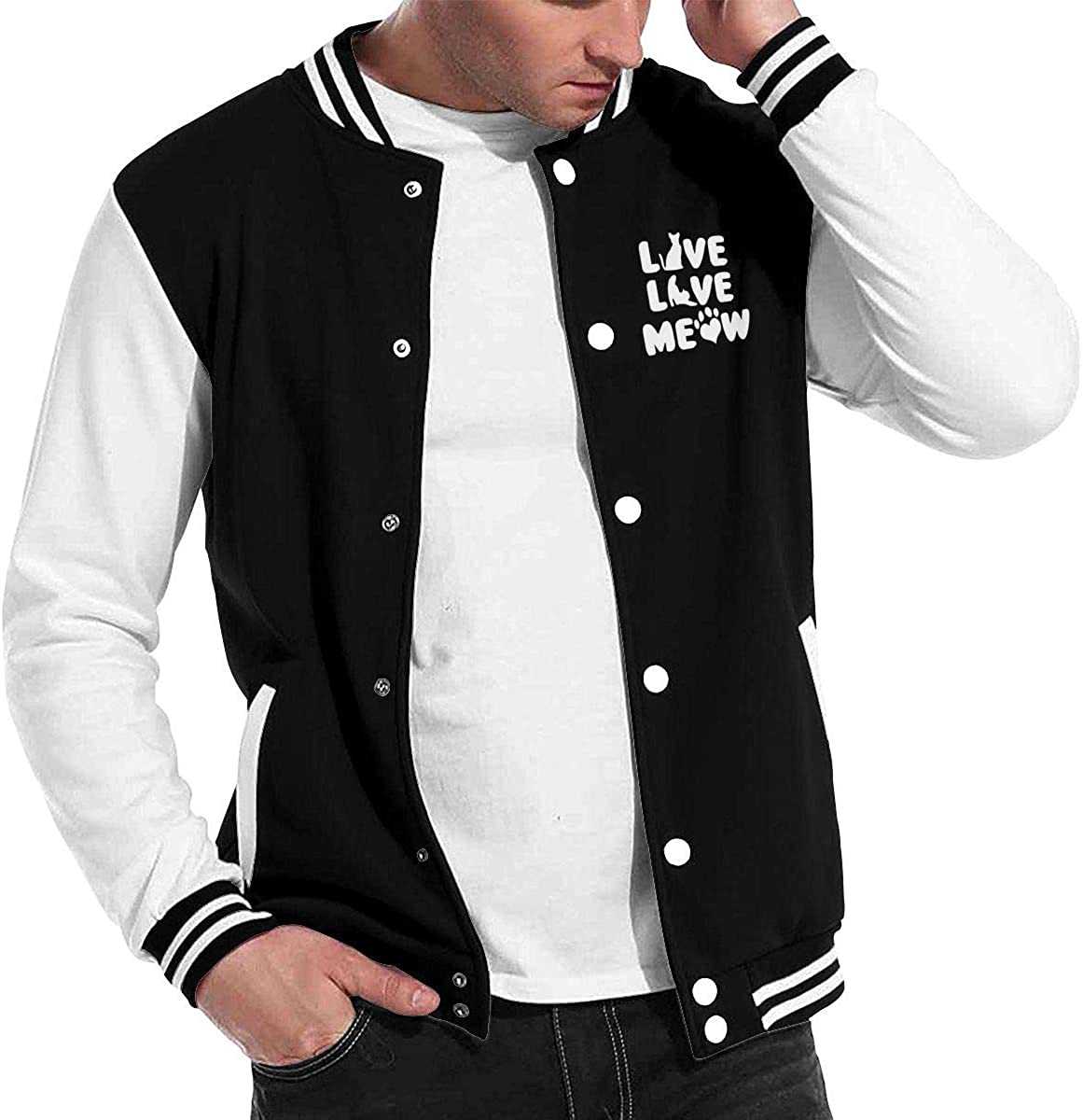 Live Love Meow Cat Mens Cool Baseball Uniform Jacket Sport Coat