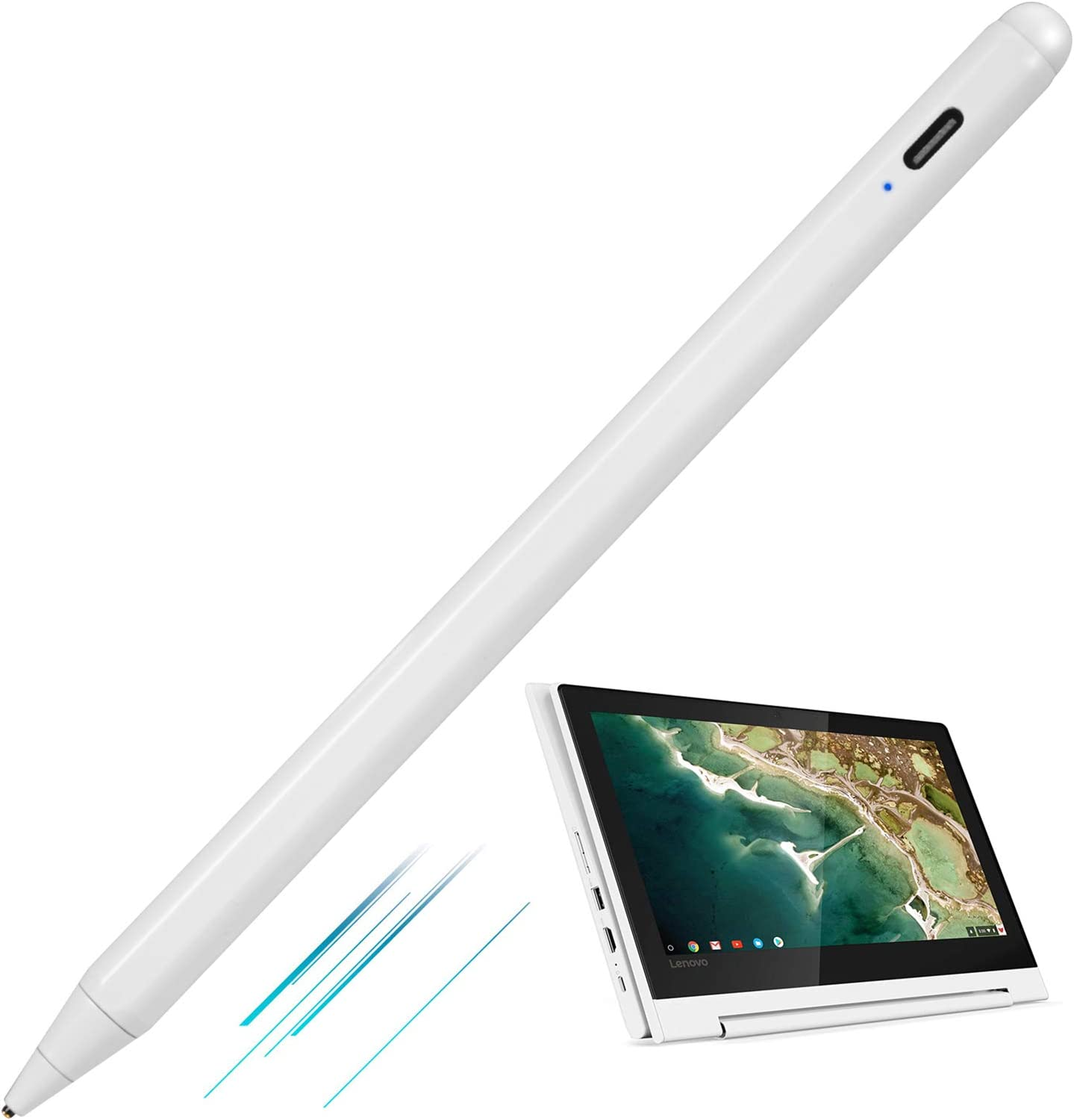 Active Stylus Pen for Lenovo C330 Convertible 2-in-1 Chromebook 11.6,Type-C Charge High Precision with Fine Tip Universal Stylus Pens Compatible with Lenovo C330 Chromebook,Good for Drawing,White