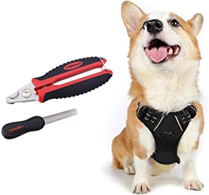 rabbitgoo Dog Harness & Dog Nail Clippers with File Set - Adjustable No Pull Dog Vest with Leash Clips(M) | Safety Pet Nail Trimmer Cat Claw Grooming Tool Painless Paw Scissors(Black Red)