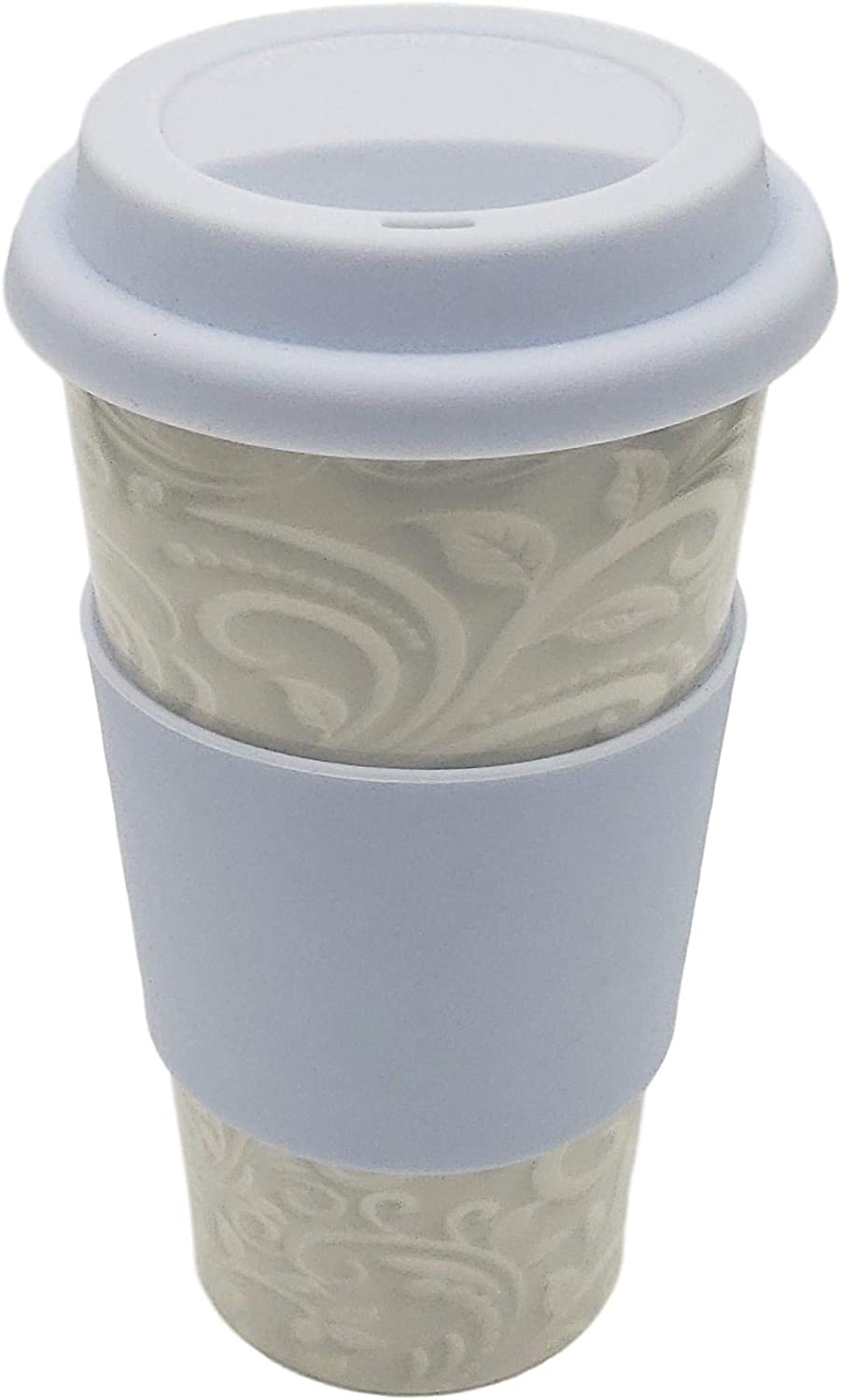 Upper Drawer 16 oz Ceramic Double Wall Insulated Travel Mug with 100% Silicone Lid (Light Paisley with Blue Lid)