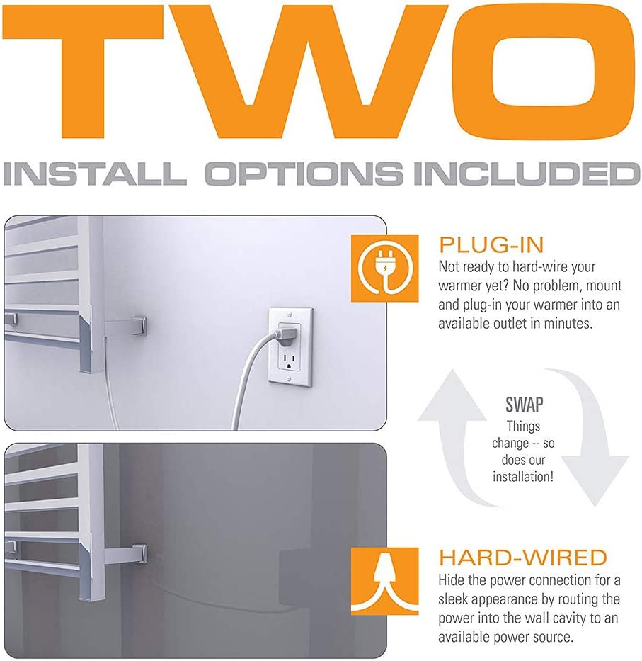 Quick Towel Dryer for Bathroom Home with On//Off Switch,Hardwired Wall Mounted Towel Warmer Plug-in//Hardwired Electric Heated Towel Rack Heated