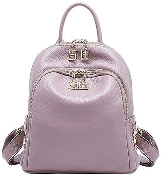 9d6c67c22f Amazon.com  BOYATU Genuine Leather Backpack for Women Travel Bag Girls Mini  Shoulder Purses (Taro Pink)  Boyatu