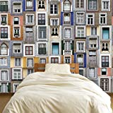 Removable Self-Adhesive Wall Stickers Lisbon Windows Mural Art Decals Vinyl Home Decoration DIY Living Bedroom Décor Wallpaper Kids Room Gift 180x120 cm, Multi-colour