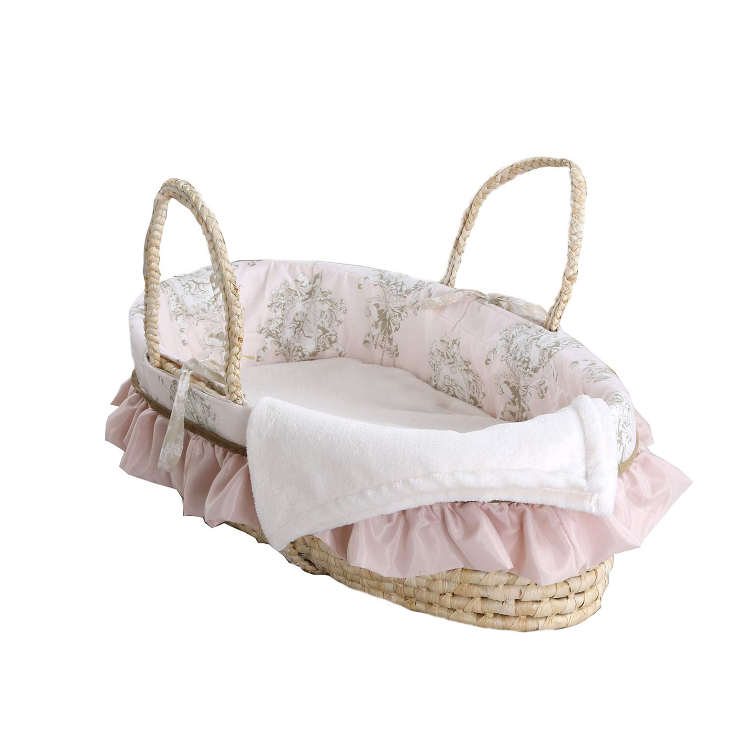 PINK Babies R Us baby Girl Moses Basket Starter Set 2 Fitted Sheets 2 Blankets