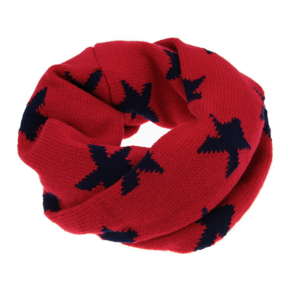 Kids Baby Toddler Fashion Stars Knitted Circle Scarves Neckerchiefs Autumn Winter Cozy Thermal Collar O Ring Loop Snood Scarf Neck Warmer for 1-8 Yrs, Great Christmas New Year Gift