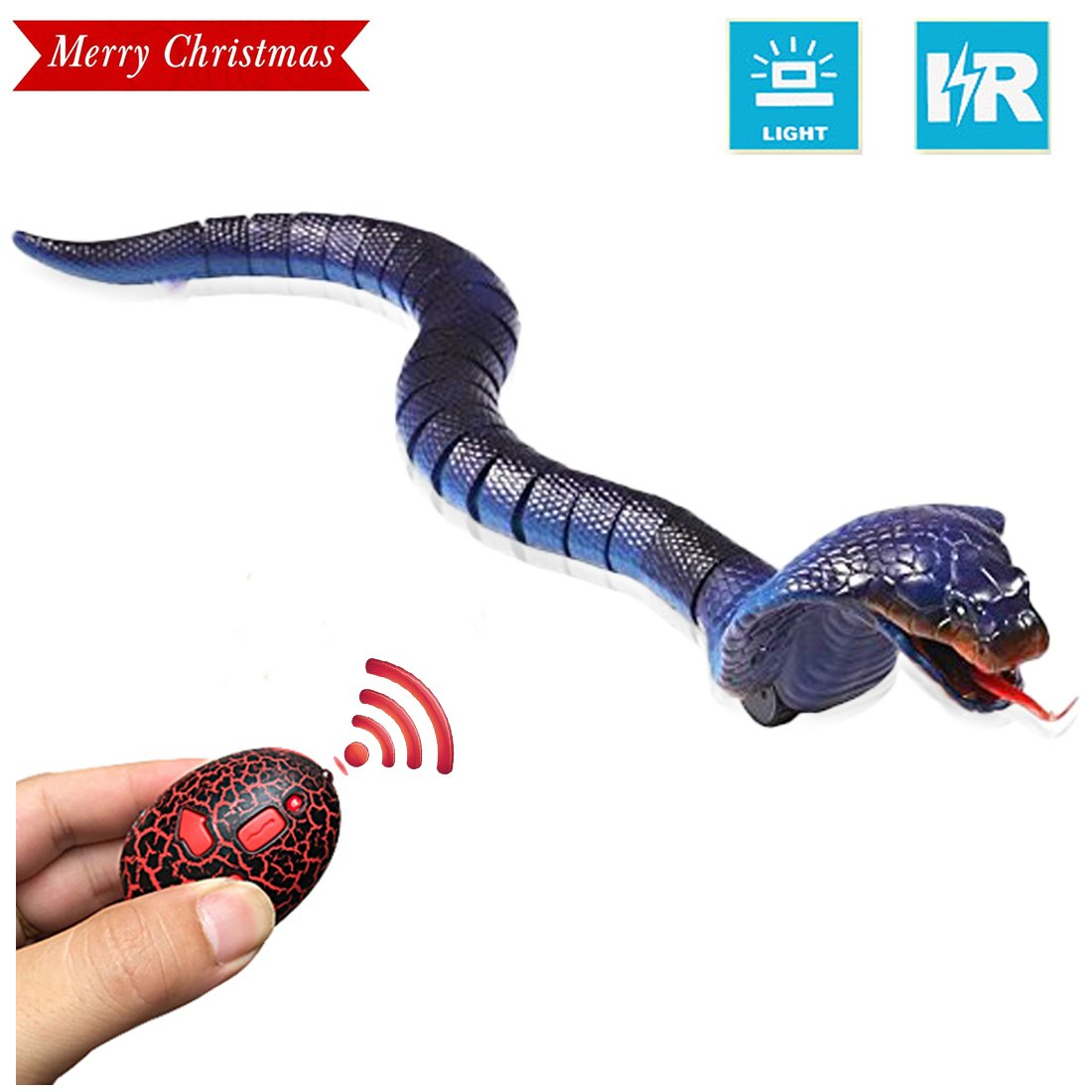 [2018 NEWEST]17'' Remote Control Snake Toy,Unee1 Infrared RC Remote Control Chargeable Lifelike Realistic Naja Cobra Toy with Retractable Tongue and Swinging Tail for Kids Fun Entertainment Gifts-Blue by Unee1