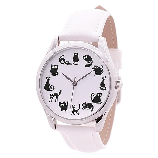 Negro Gatos - Reloj (negro Band), reloj para las mujeres, para mujer regalos, regalos de cumpleaños para ella, reloj de pulsera: Amazon.es: Relojes