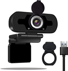 [2020 New Version]1080P HD Webcam with Microphone & Privacy Cover,360-Degree Wide View Angle Auto Focus Streaming Computer PC Web Camera for Video Calling,Recording Conferencing,Online Work,Home Offic