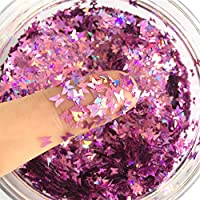 Bonnie-Sam Laser Nail Art Glitter Sequins, 12 boxs, Beautiful Butterfly Star Moon Heart and Flowers for Nail Crafts Face…