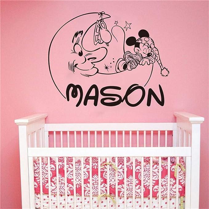 etiqueta de la pared decoración Mickey Mouse para niños habitación personalizada nombre etiqueta bebé dormitorio decoración personalizada Nam: Amazon.es: Bricolaje y herramientas