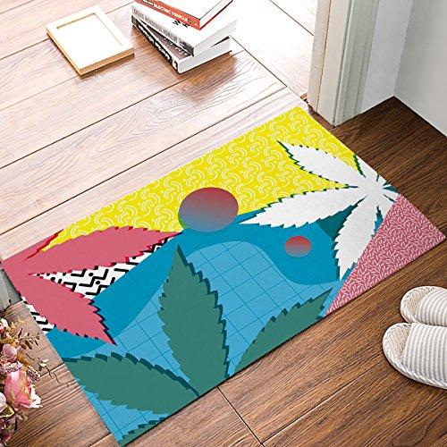 (Women Trend Indoor Doormats Rubber Backing Non Slip Door Mat Geometric Pattern and Cannabis Leves Bathmat, Front Door Inside Floor Dirt Trapper Entrance Rugs Shoes Scraper Carpet 15.7