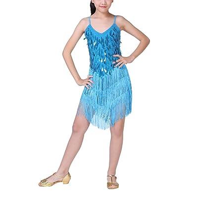 Wingbind Latin Dance Costumes Dress Halter Tassel Dress for Girls Kids Child