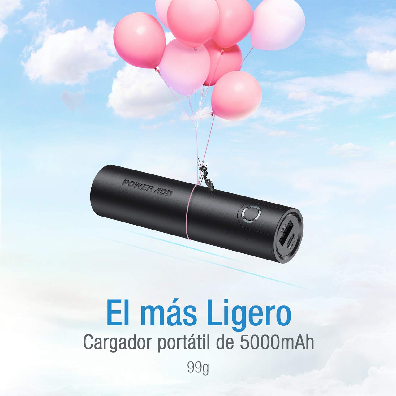 POWERADD Energy Cell 5000mAh Power Bank Cargador Portátil para iPhone,Samsung,Huawei y Más Dispositivos-Negro
