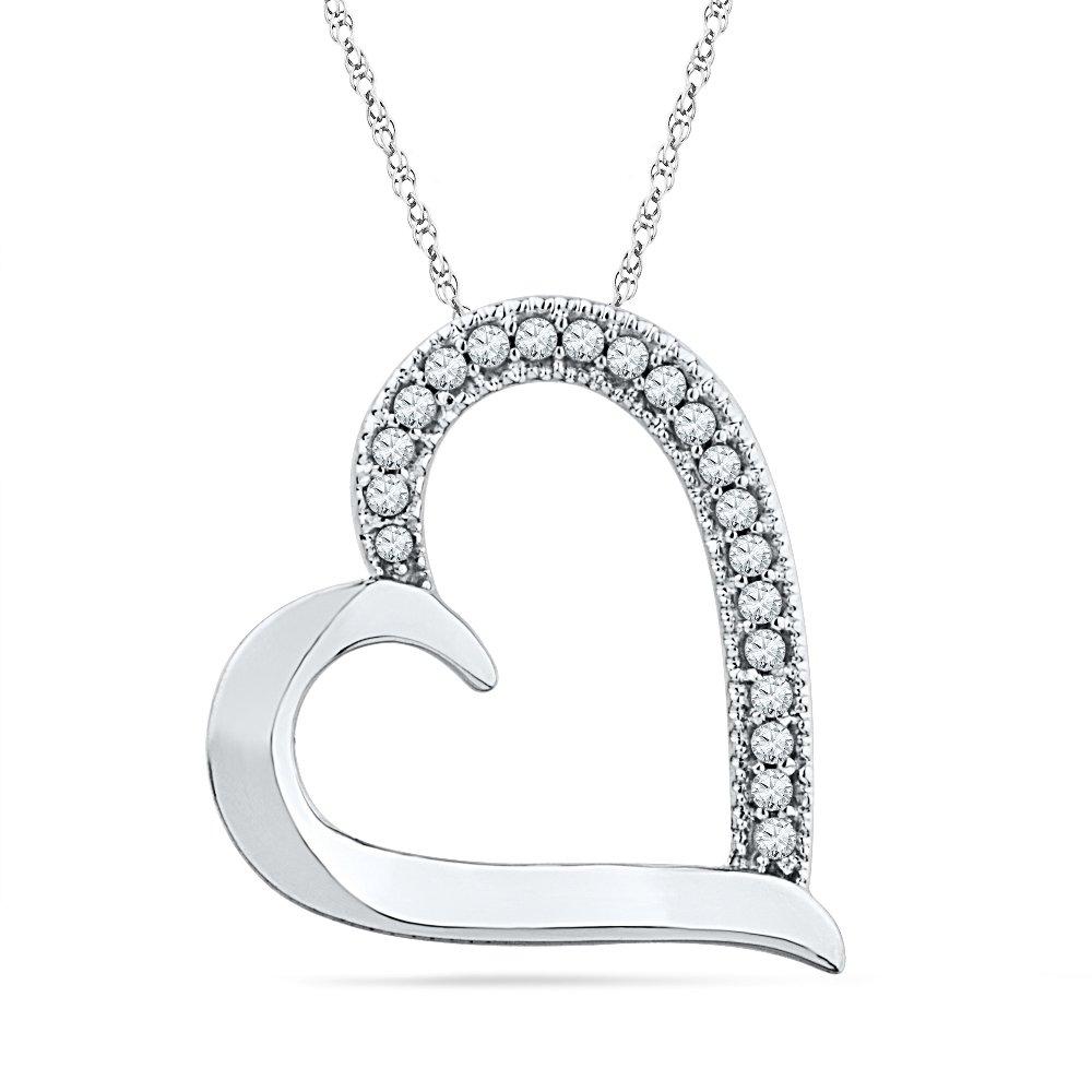 10KT White Gold Round Diamond Heart Pendant (0.10 cttw)