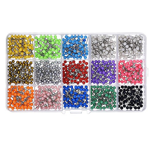 Shappy 1/ 8 Inch Small Map Push Pins Map Tacks, Plastic Head with Steel Point, 900 Pieces, Assorted Colors