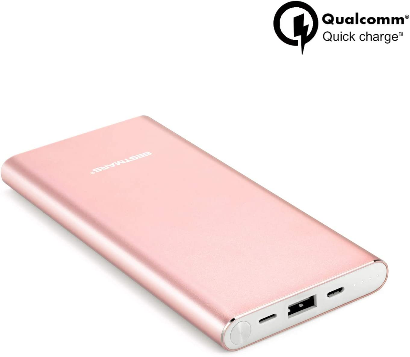 10000mAh Quick Charge QC 3.0 Portable Charger Fast Charging Power Bank Slim Back Up Battery Pack Compatible For iPhone X XS MAX XR 8 7 6 6s Plus 5s & iPad Android Samsung Galaxy Cell Phone - Rose Gold