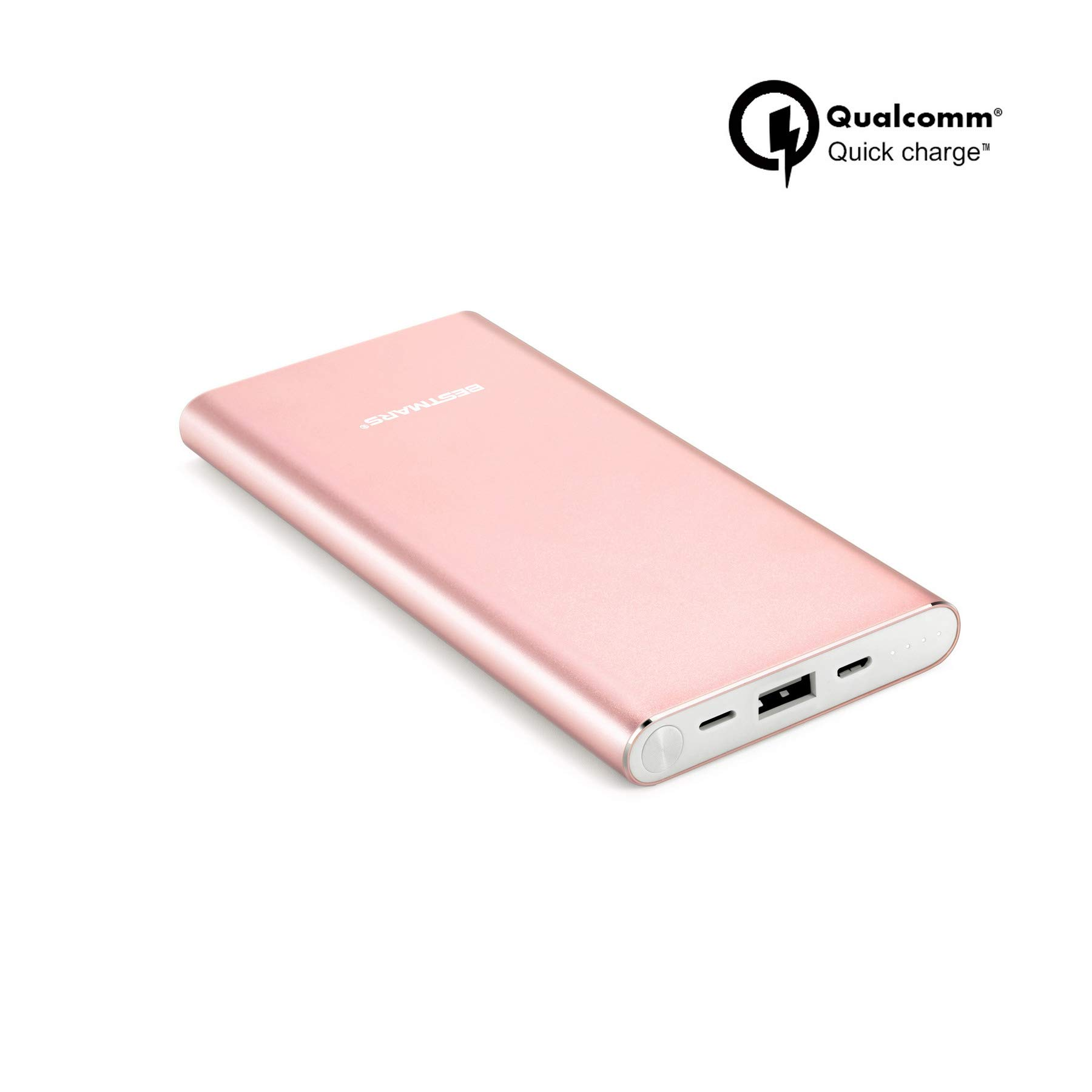 10000mAh Quick Charge QC 3.0 Portable Charger Fast Charging Power Bank Slim Back Up Battery Pack Compatible For iPhone X XS MAX XR 8 7 6 6s Plus 5s & iPad Android Samsung Galaxy Cell Phone - Rose Gold by BESTMARS