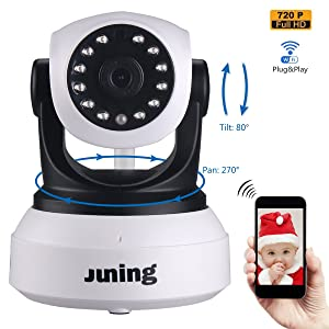 Baby Monitor Wifi Wireless Security Camera System 720P HD Pan Tilt (Day/Night Vision,2 Way Audio,SD Card Slot, Alarm)-JUNING C7824 IP Camera