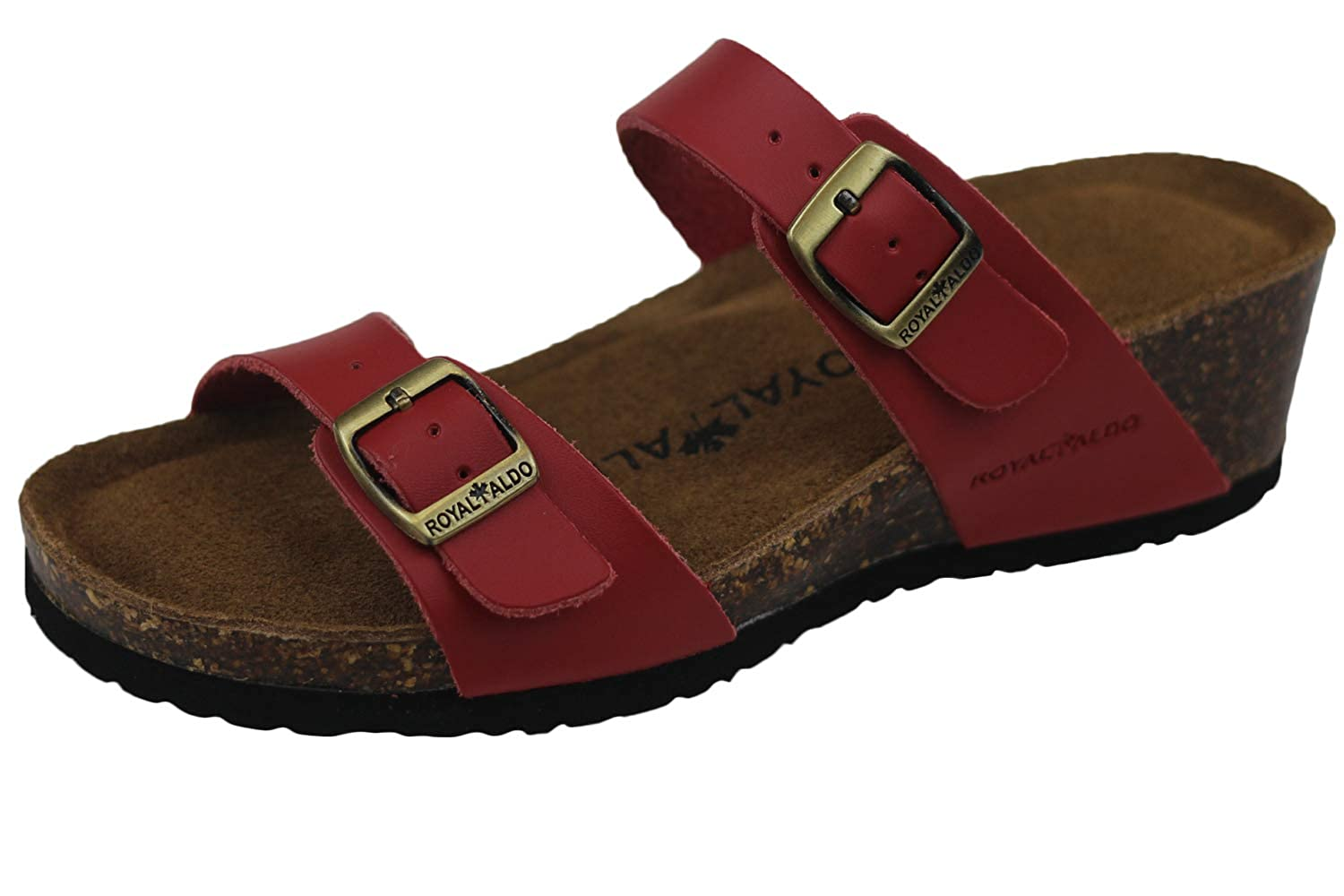Red ROYAL ALDO Women's Wedges-Sandals, Classic Two-Strap with Two Adjustable Buckles, Comfortable Summer Leather shoes