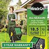 Miracle-Gro Small Composter - Compact Single Chamber Outdoor Garden Compost Bin - Heavy Duty 18.5gal (70L) Capacity - Easy to Assemble Compost Tumbler + Free Scotts Gardening Gloves