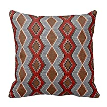 Popular Presents Personalized Throw Pillowcase 18 x 18 Southwest-Tribal-Geometric-Western # Navajo Print Pillow Cover