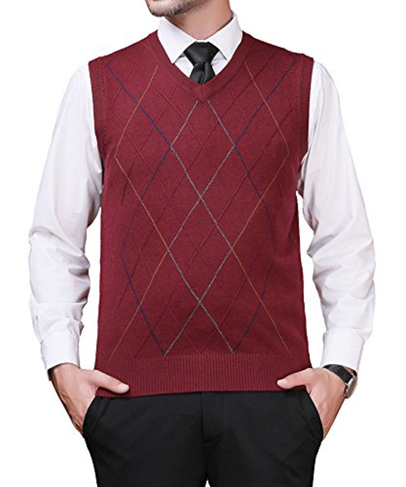 Zicac Men's Pullover Sweater Vest V-Neck Knitted Waistcoat Argyle Sleeveless Sweater Business Knitwear (L, Wine Red)