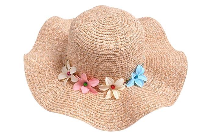 Leisial Kinder Mädchen Sonnenhut Wellenform Hüte Flexible Sommer Hüte Strandhut mit Girlande 50-52cm