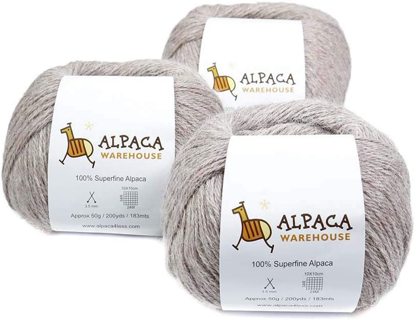 100/% Baby Alpaca Yarn Wool Set of 3 Skeins Lace Worsted Bulky//Chunky Weight Heavenly Soft and Perfect for Knitting and Crocheting Azure Blue, Worsted Weight