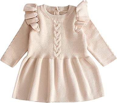 eel To detect Correspondent  Amazon.com: Fheaven Toddler Baby Kids Girls Knit Winter Mini Dress Ruffled  Warm Sweater Dress Crochet Knitted Dresses Clothes: Clothing