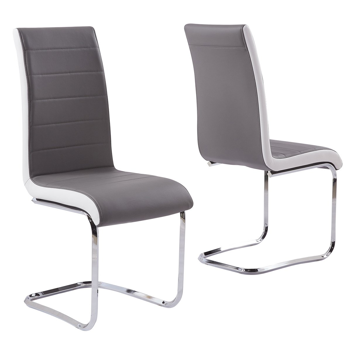2X Premium Grey Leather Dining Chairs Padded High Back and Solid Chrome Legs with White Trim Side Contemporary Retro Look Kitchen Room Office Meeting Room Dining Table Seater GIZZA
