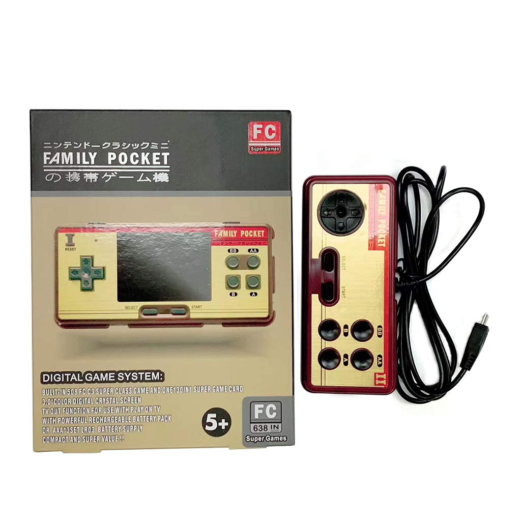 Tebatu Handheld Game Players Built in 638 Classic Games Console 8 Bit Retro Video Game for Gift Support AV Out Put