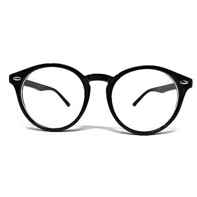 beeffa23204 Clear Lens Round Style Glasses  Black Frame   Amazon.co.uk  Clothing