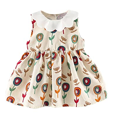 d29915d5bfb3 Vincent&July Toddler Kids Baby Girls Sleeveless Lapel Flower Clothes Party Casual  Dresses (6M(0