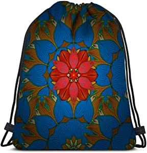 Drawstring Backpack Turkish Pakistan Chinese Motifs Oriental Colored On Blue Yellow Laundry Bag Gym Yoga Bag