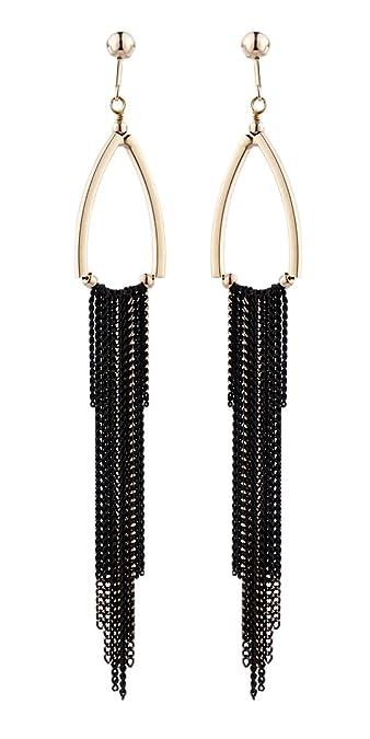 Clip On Earrings - Gold Plated Chandelier Fringe - Britney G by Bello London NY8eR1QNR