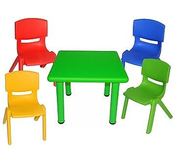 Set: Sitzgruppe   Tisch + 4 Kinderstühle   BUNT   Stapelbar /
