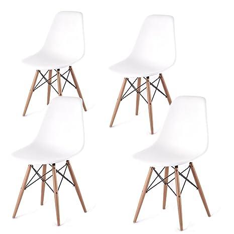 Chaises design DSW Blanc 4U–Set de chaises