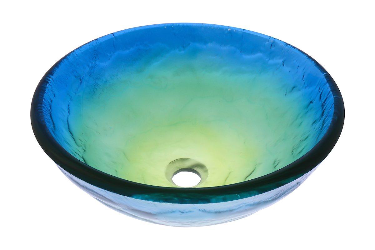 Oil Rubbed Bronze Novatto MARE BLU Glass Vessel Bathroom Sink Set