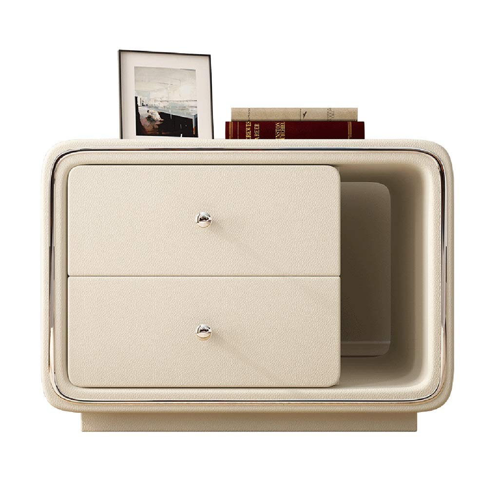 LQQGXLBedside Table Bedside Table Modern Minimalist Mini Locker Multi-Function Double Drawer Small Side Table by LQQGXL