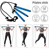 Pahajim Portable Pilates Bar Kit with Resistance Band Yoga Pilates Bar Kit Body Shaping Pilates Stick Hipsline Pilates…