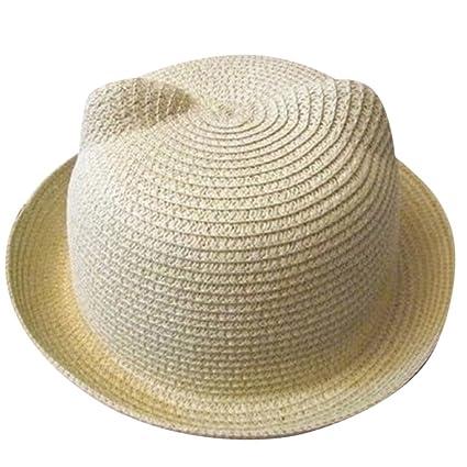 Moollyfox Sombrero de Playa Gorra Paja Verano Oreja De Gato Para Niño Niña  Beige 577acd3c235