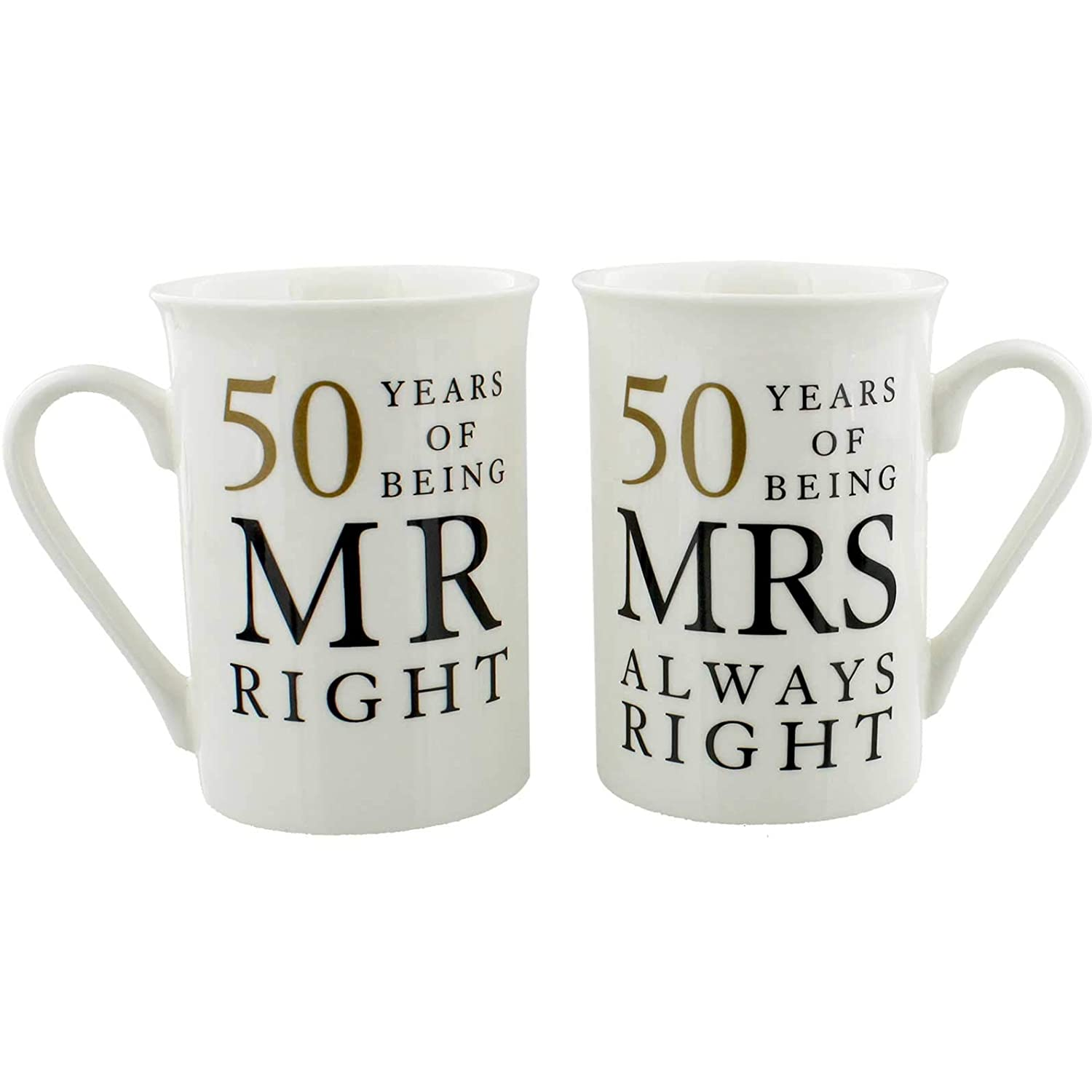 50th Anniversary Gift Set of 2 China Mugs 'Mr Right & Mrs Always Right' Juliana