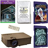 AtmosFearFx Christmas and Halloween Digital Decoration Kit includes 1900 lumen Projector, Hollusion + Reaper Bros Rear Projection Screens, Night Before Christmas and Ghostly Apparitions on SD Cards