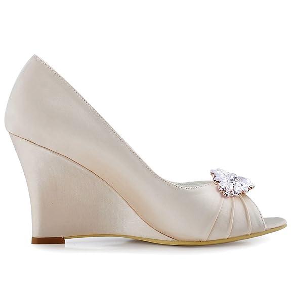 13197b1b0db8 Elegantpark WP1547 Women Wedges AF01 Removable Shoe Clip Peep Toe  Rhinestones Satin High Heel Wedding Bridal Shoes  Amazon.ca  Shoes    Handbags